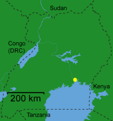 Location of Jinja in Uganda