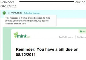 Mint.com reminder message sent using SenderID