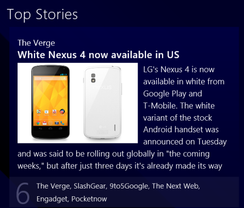 Screenshot of news tile for Nexus 4 available in white